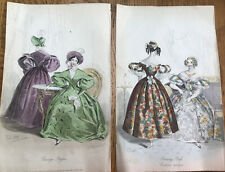 Antique 1833 Hand Painted Prints- Ladies In Costume/Dresses From Court Magazine.