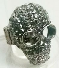 """Gray Skull Large Cocktail Ring Crystal Stretch Band 1.5"""" Halloween Costume"""