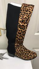 Lunar Ladies Boots Black Leopard Flat Boot Calf Length Size 7 40 BNWT £90