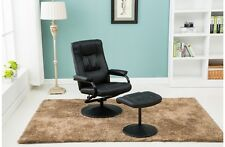 Memphis Black Faux Leather Swivel Chair Including Sturdy Footstool Birlea
