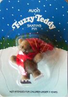 """Vintage 1986 Avon """"FUZZY TEDDY SKATING"""" ~2"""" Holiday Garment Pin - Brand New!"""