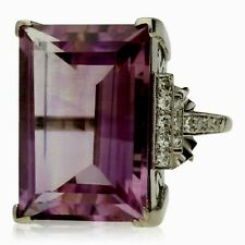 RETRO 18CT WHITE GOLD AMETHYST & DIAMOND COCKTAIL CLUSTER RING - 1940/1950s