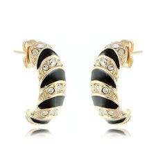 18k Rose Gold EP Brilliant Cut Crystal W Black Paint Stud Earrings