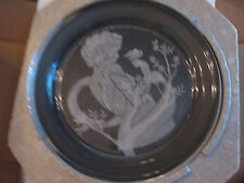 "MINT 1982 MICHAEL YATES' ""VIOLET"" PLATE FULL LEAD CRYSTAL SIGNED/NUMBERED # 4991"