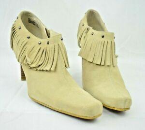 "MIA - ""Hunter"" Tan Suede Leather Fringe 4"" Heels Women's US Size: 9 - C4798"