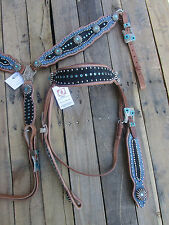 WESTERN HEADSTALL BREAST COLLAR TURQUOISE BLUE BLACK SHOW HORSE LEATHER TACK SET