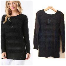 Bebe Eyelash & Sequin Sweater Size S
