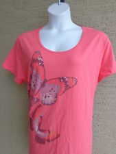 NWT Just My Size Butterfly Graphic Scoop Neck S/S Cotton Tee Shirt  3X Coral
