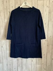 Toast 100% Cotton Navy Blue Oversized Thick Jumper Dress Size 8  Fits 12 Pockets