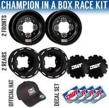 "DWT Black Champion in a Box 10"" Front 8"" Rear Beadlock Rims Rings LTR450 LTZ400"