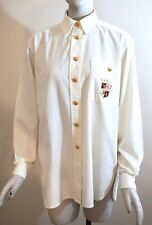 ESCADA Sport Women's Ivory Pinwale Cotton Corduroy Crested Shirt Gold Buttons, S