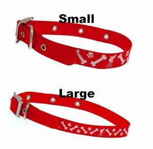Liverpool FC SMALL OR LARGE Adjustable Dog Collar - Bones, Paws & LFC crest