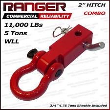 """Ranger 2"""" Hitch Receiver with 3/4"""" Shackle D-Ring Combo Adapter 11,000 LBs 5 Ton"""