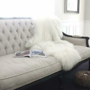 WHITE Real Mongolian Fur Throw Tibetan Lambskin Rug Hide Pelt Curl Hair Carpet