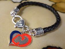 CLEVELAND INDIANS AMINCO MLB baseball charm on Black leather bracelet jewelry