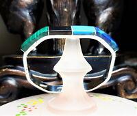 "Taxco 8"" Mexico Vintage Handmade Hinge Bangle Bracelet Malachite Turquois B122"