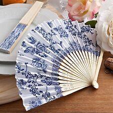 BOMBONIERA segnaposto VENTAGLIO bianco rose blu cobalto MATRIMONIO cod 1511
