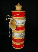 Made in India set of 6 Trim Ribbon Total 30 yards Red & Silver Wood Spool