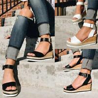 Women's Ladies Summer Open Toe Ankle Platform Wedges Roman Sandals Shoes Size