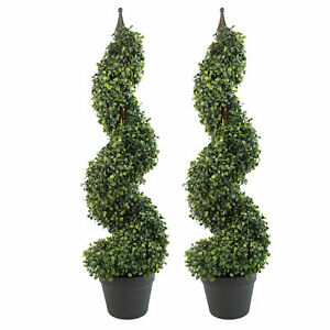 Pair of 90cm (3ft) Tall Artificial Boxwood Tower Trees Topiary Spiral Metal T...