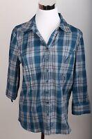Christopher & Banks Long Sleeve Plaid Button Down Shirt Women's Size S