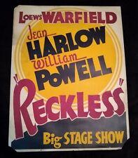 Reckless 1935 Vintage San Francisco Trolley Window Card 20x27 Jean Harlow