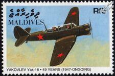 "YAKOVLEV Yak-18 ""Max"" Russian Air Force Trainer Aircraft Stamp (1998 Maldives)"