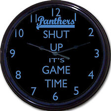 Carolina Panthers Shut Up It's Game Time Wall Clock NFL Football Man Cave 10""