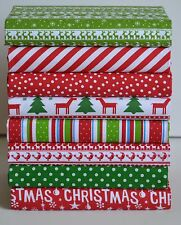 RED & GREEN CHRISTMAS FABRIC PATCHWORK CRAFT REMNANTS SQUARES BUNDLE POLY COTTON