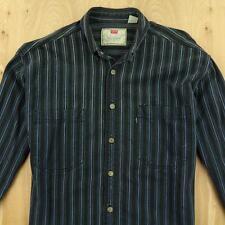 LEVI'S striped denim work shirt LARGE faded metal buttons railroad vtg 90s