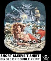 MERMAID PIRATE TREASURE SHIP WRECK CARIBBEAN SKULL JOLLY ROGER T-SHIRT W232