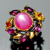 Star Ruby Ring Silver 925 Sterling Vintage9x8mm Size 8.5 /R129266