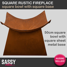 Square Rusted Fireplace Fire Pit Square Steel Base Sheet Metal Outdoor Furniture