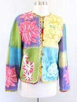 Sandy - Sandy Starkman Colorful Patchwork Cardigan Sweater Jacket Size M Floral