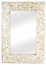 Large Hanging Vintage Distressed Wooden Mosaic Pearl Effect Portrait Wall Mirror