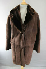 CLASSIC VINTAGE 70's DARK BROWN SUEDE LEATHER SHEEPSKIN LINED COAT 34 INCH/86 CM