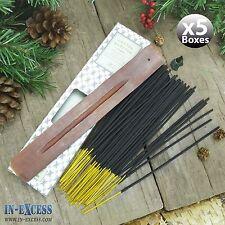 5 x boîtes de 60 encens bâtons d'encens en bois et porte-coton fleurs (300 bâtons)