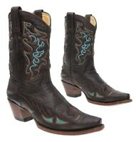 CORRAL Cowboy Boot 9 M Women EXOTIC Overlays Leather CUTOUTS Turquoise Inlays