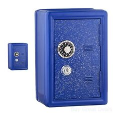 Kids Metal Safe Blue Bank Money Counting Learning Combination Lock Key Savings