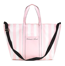 VICTORIAS SECRET WHITE PINK STRIPED CANVAS TOTE SHOPPING BEACH BAG New Free Ship