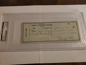 1957 Ty Cobb Signed Autographed Full Check  PSA / DNA  Certified Encapsulated