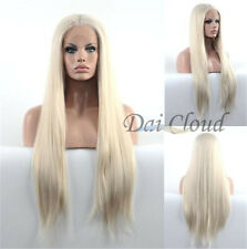 Heat Resistant  Women's Blonde Straight Lace Front Wig Long Hair Synthetic Wigs