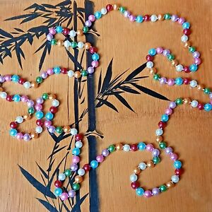 Vintage Extra Long Multi-Coloured Colourful Faux Pearl Necklace Statement