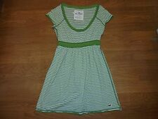 Hollister A&F green and white striped tunic shirt size S Back 2 School