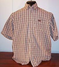 Brown Carhartt Mens Youth Brown Check Cotton Casual Short Sleeve Shirt  XL