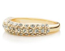 Elegante elegante Oro & Bianco Strass Anello di medie dimensioni o diametro 17 mm fr68