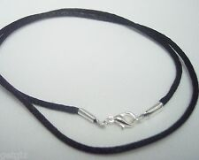 """10 Necklaces Black Satin Cord chain rope for Pendant  30"""" Silver pl. Lobster cl."""