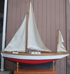 "Antique Model Hollow Wood Yacht Sailboat Yawl Ship Pond Boat 48"" LONG 4' TALL"
