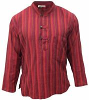 Mens Summer Festival  Striped Shirt Light Weight Classic Grandad Style Tops