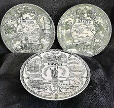 "Lot of 3 Souvenir Collectors 9.5"" Plates-Bermuda, Nassau, Hawaii Tourist Sites"